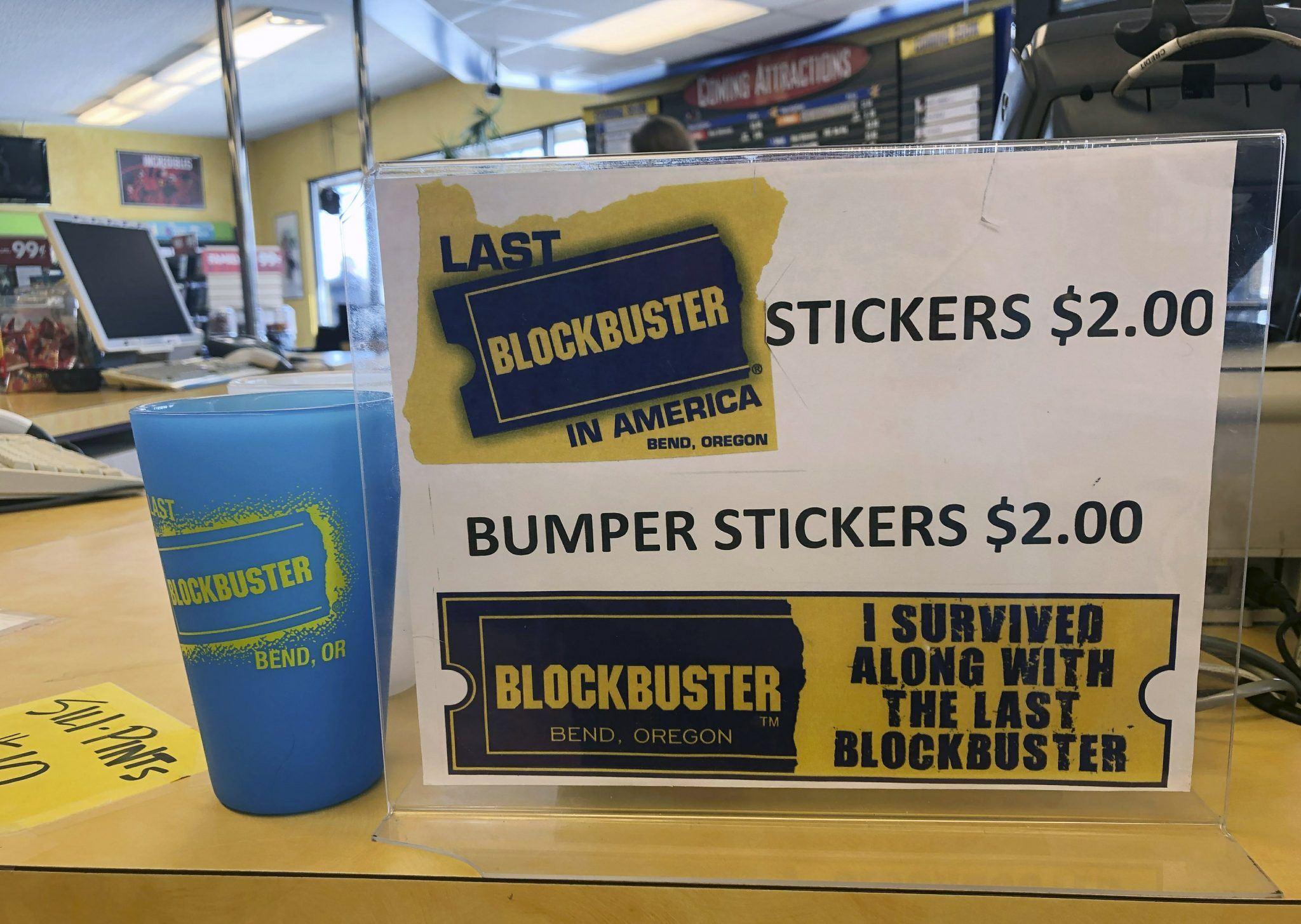 Bumper stickers for the Last Blockbuster on earth in Oregon.