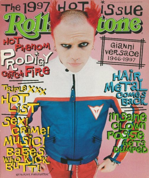 Keith Flint on the cover of Rolling Stone in 1997 with flaming Fire red hair.