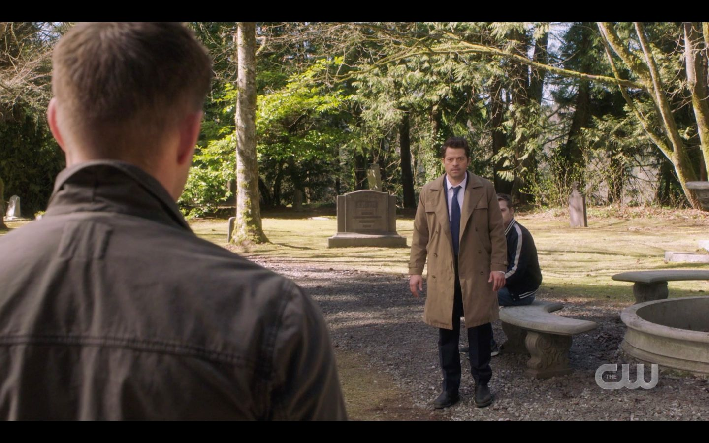 Castiel protects Jack in cemetary from Dean Winchester SPN 14.20