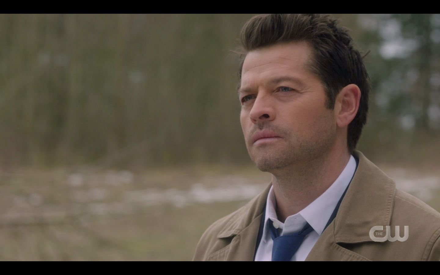 Castiel watches the hunters funeral pyre burn SPN Absence.