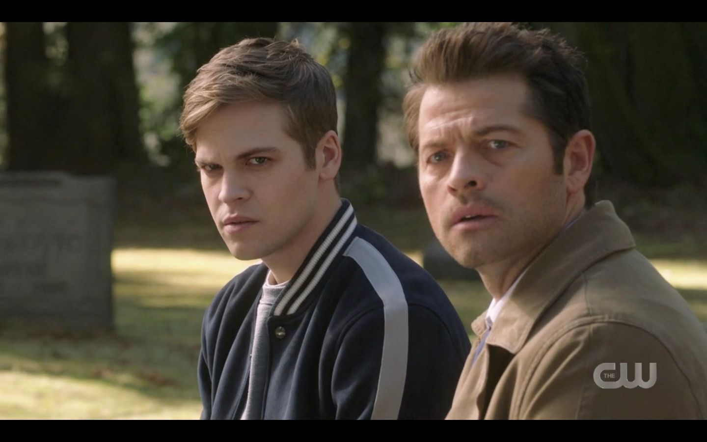 Castiel with Jack watching as Dean Winchester runs at them SPN 14.20