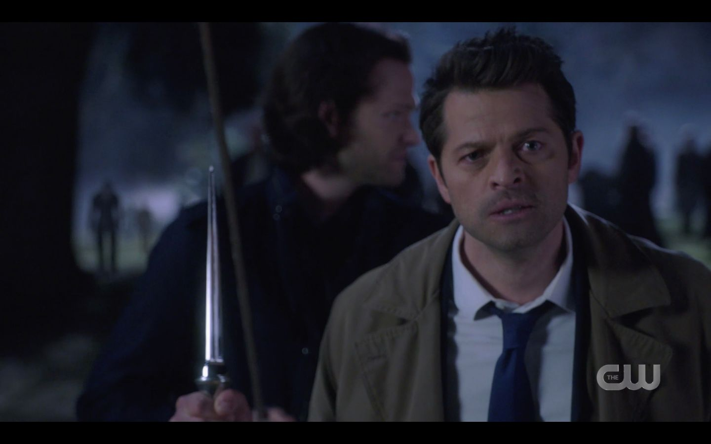 Castiel with Sam Winchester stake ready for zombie horde battle SPN 14.20