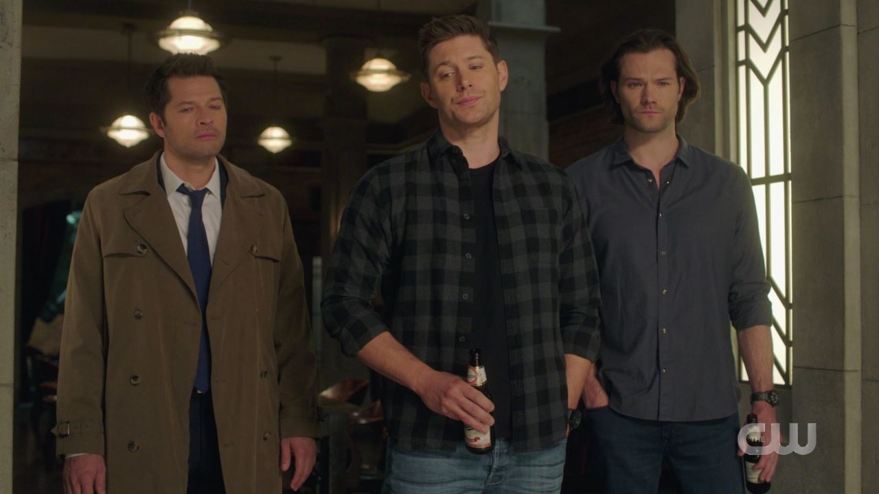 Dean Sam Winchester with Castiel at Mary memorial service SPN 14.19