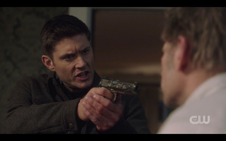 Dean Winchester with gun on Nick I wanna talk Supernatural 14.17