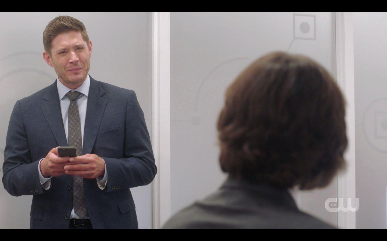 Dean Winchester working phone Ill shut up to Sam SPN 14.20