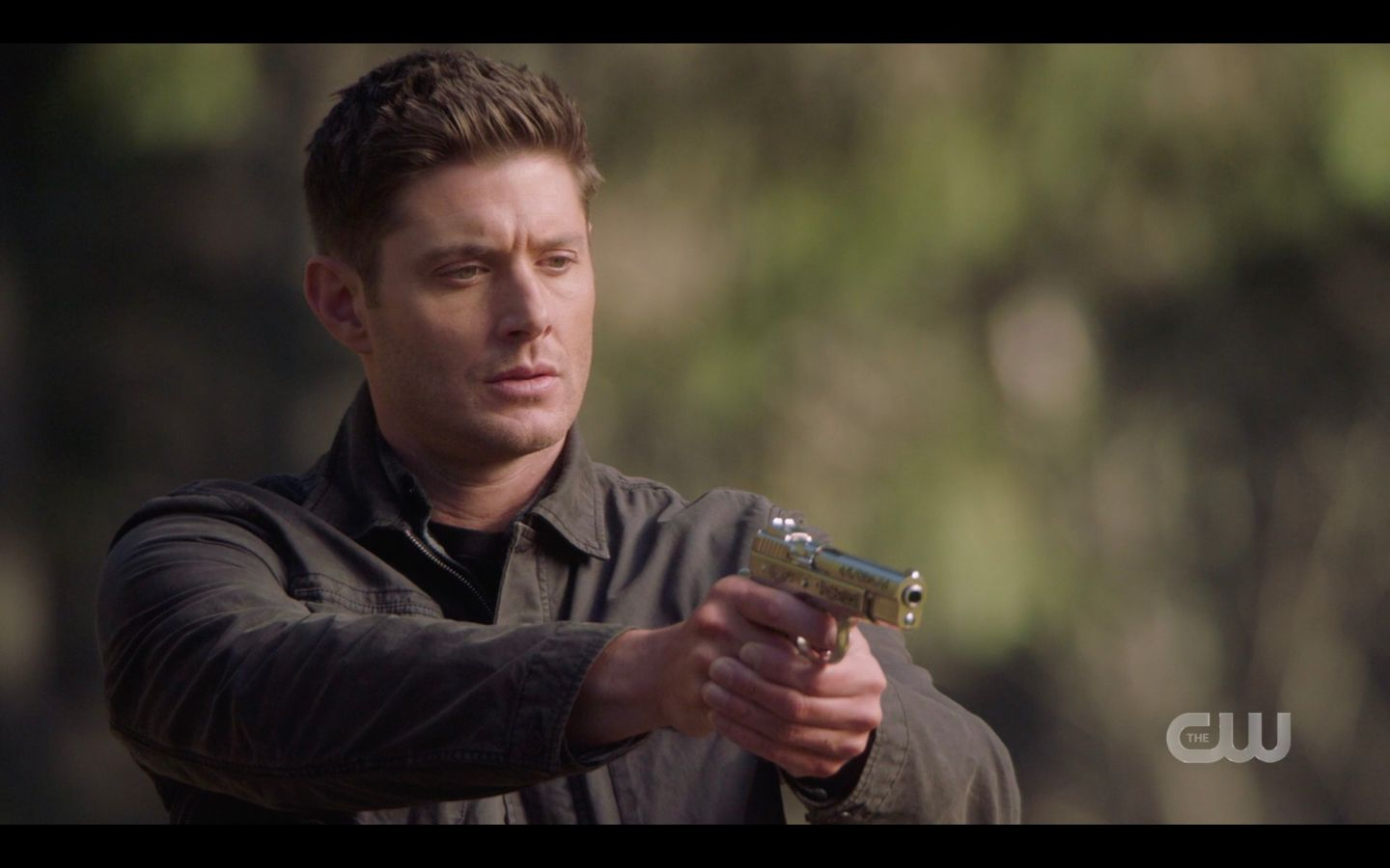 Dean points gun at Castiel protecting Jack in cemetary SUpernatural 14.20