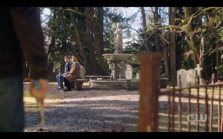 Dean walks into cemetary seeing Jack with Castiel SPN 14 show finale