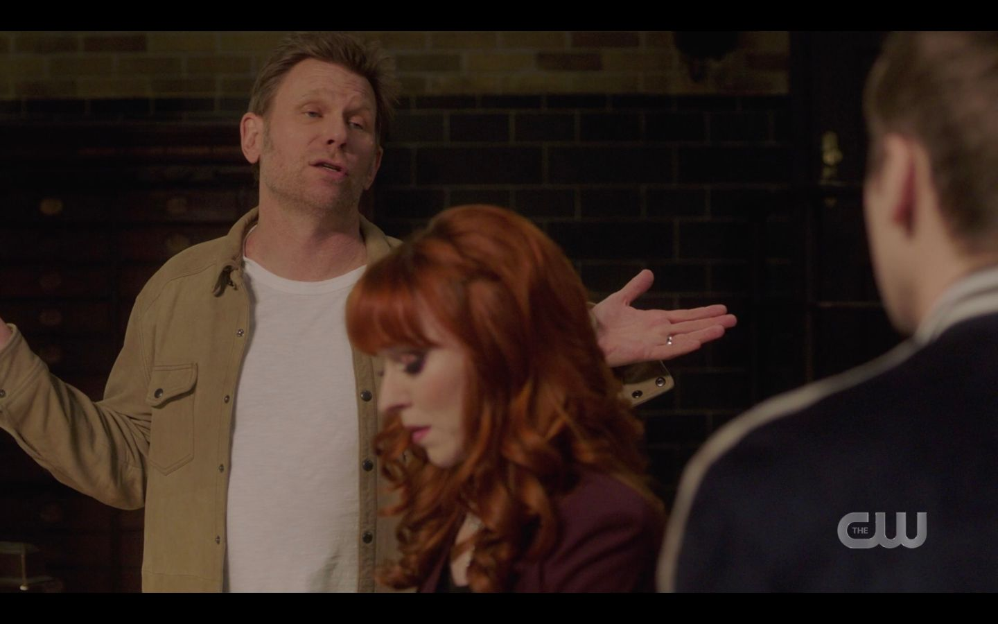 Hallucifer with Rowena and Jack discussing his spell SPN 14.18