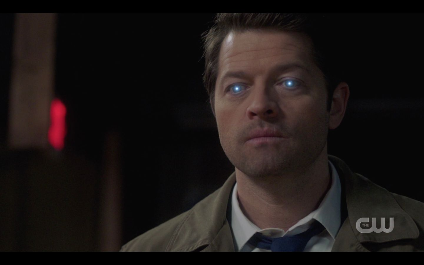 SPN Castiel blue eyes light up for Anael game night