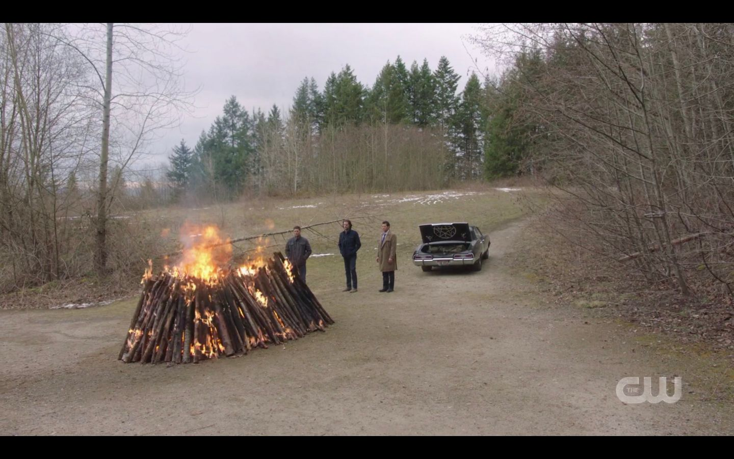 Sam Winchester puts photo of Mary in hunters funeral pyre burning with Dean Cas