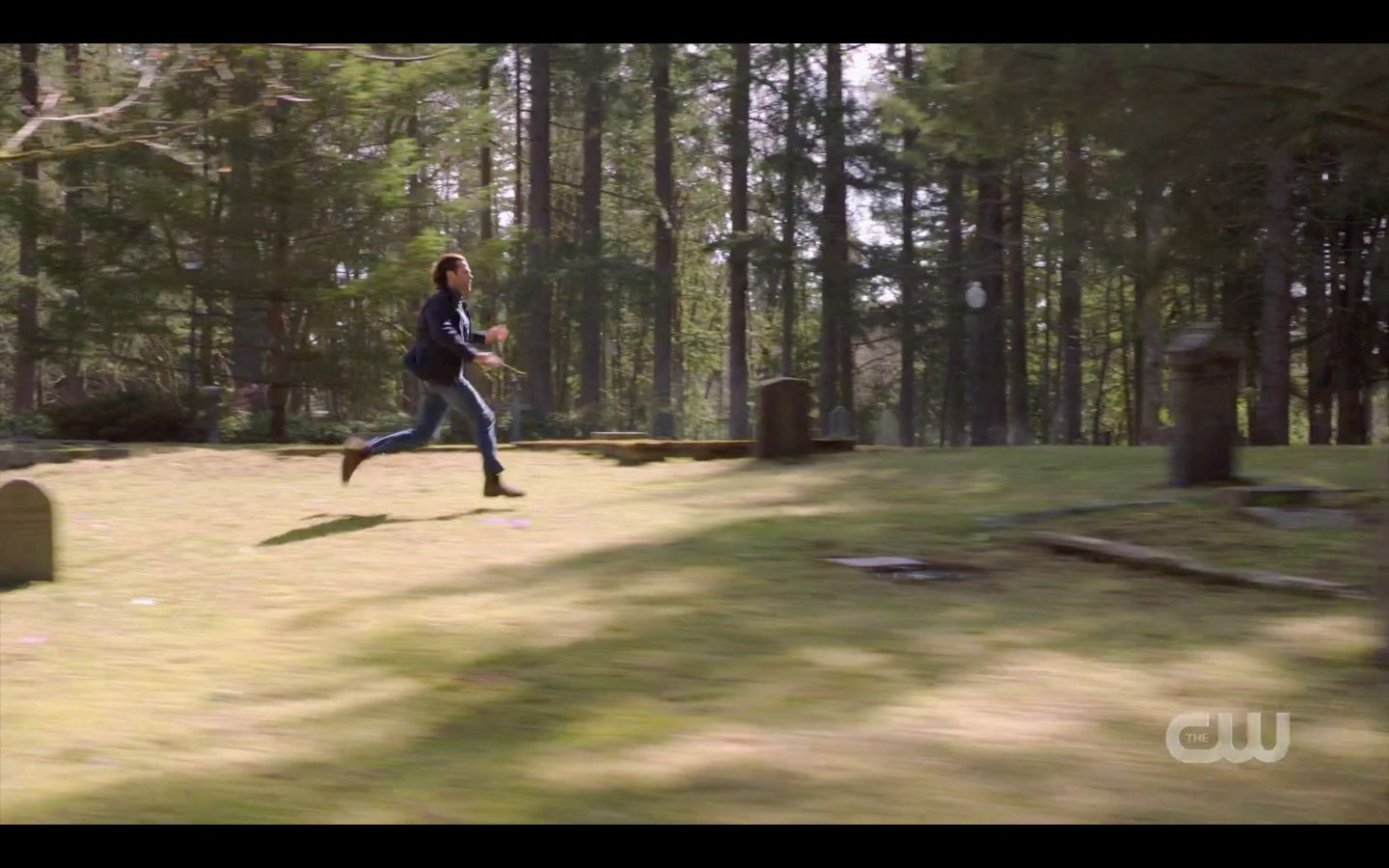 Sam Winchester running across cemetary to find Dean SPN 14.20