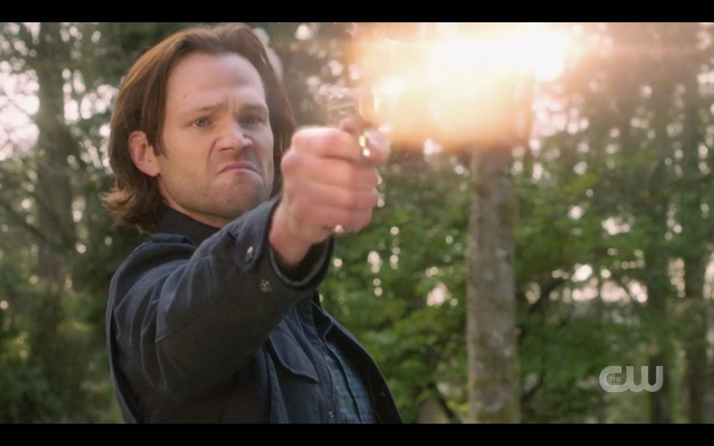 Sam Winchester shoots at demon Chuck after throwing Dean SPN 14.20