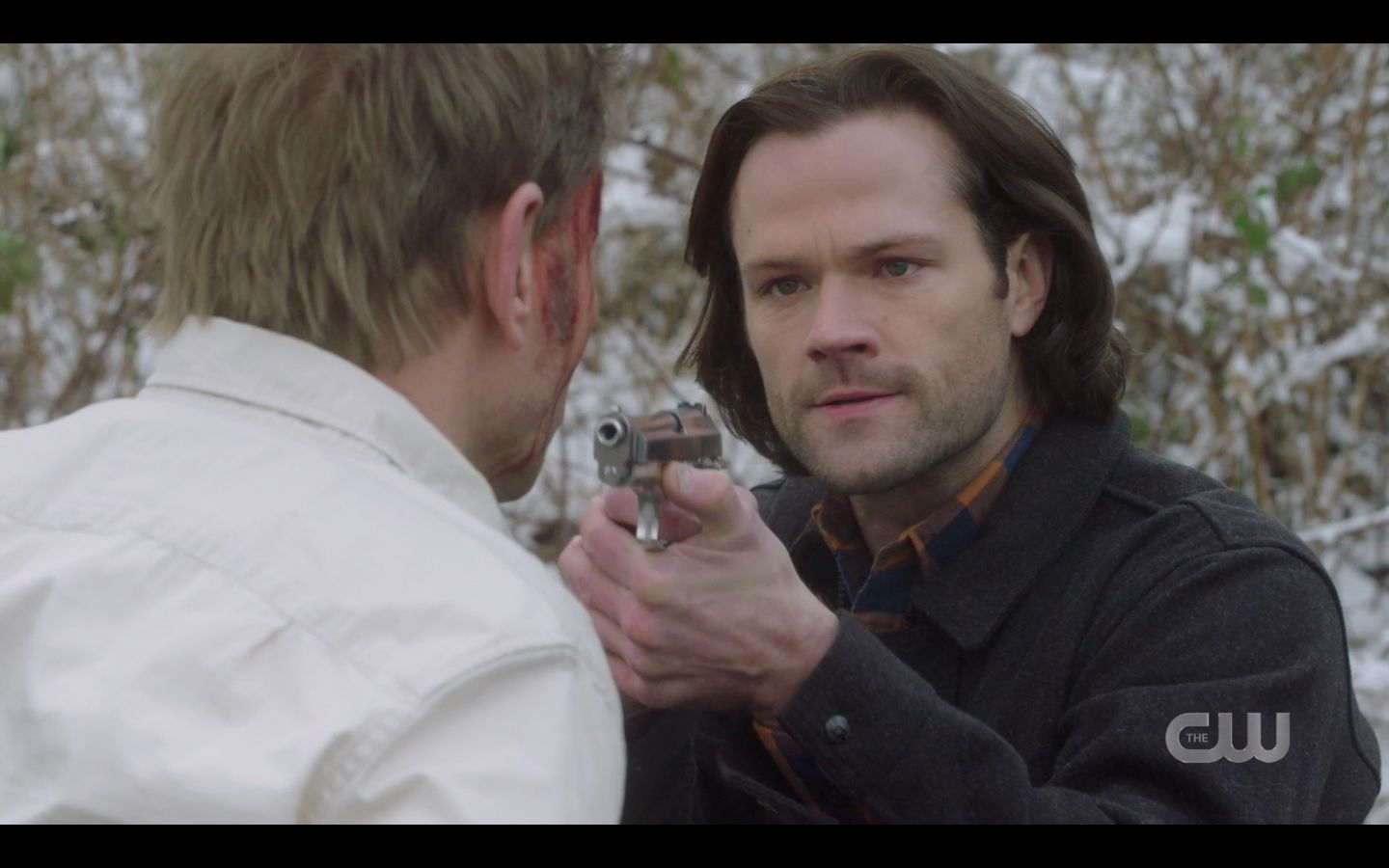 Sam Winchester with gun on Nick from behind SPN Game Night