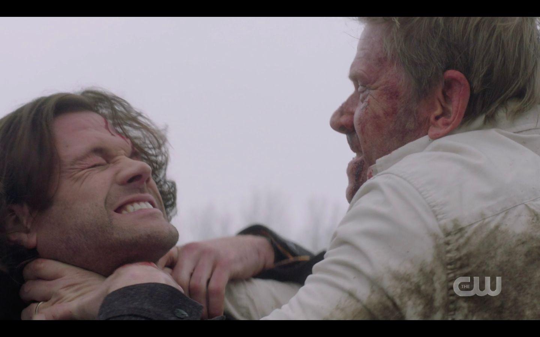 Supernatural Game Night Nick choking Sam Winchester throat hard