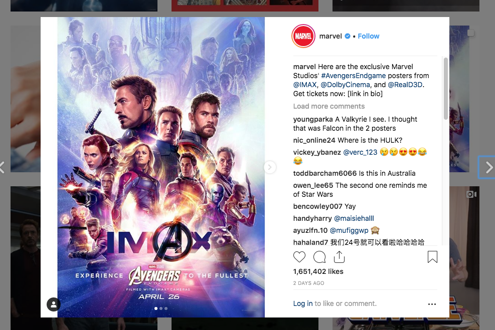 Avengers Endgame social media marketing campaign winner.