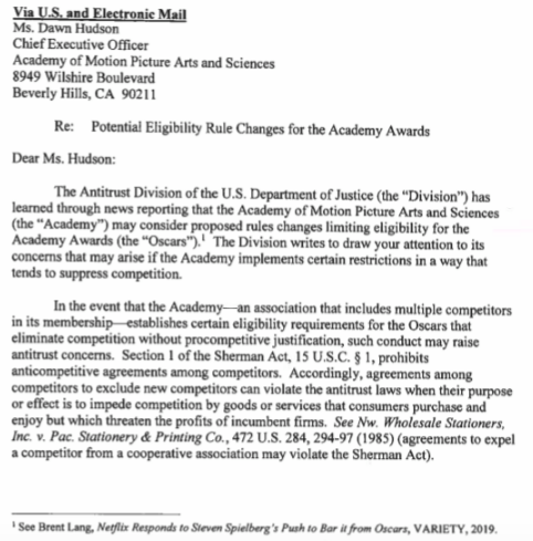 Department of Justice letter to Academy regarding Netflix.