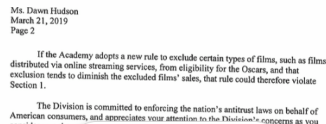 Part 2 of DOJ letter to Academy about blocking Netflix from Oscar competition.