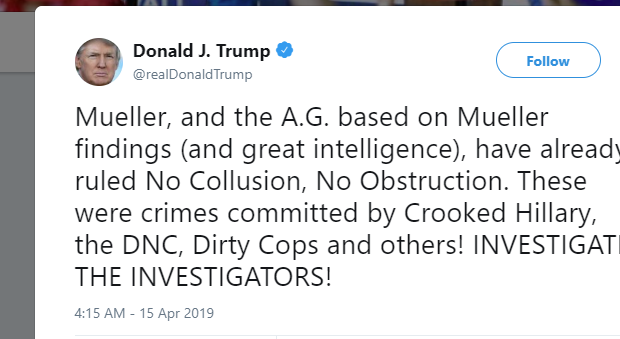 Donald Trump angry Mueller report tweets with redacted version coming Thursday.