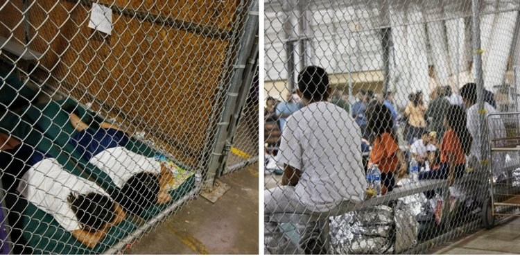 Donald Trump's immigrant children in cages while parents are deported.
