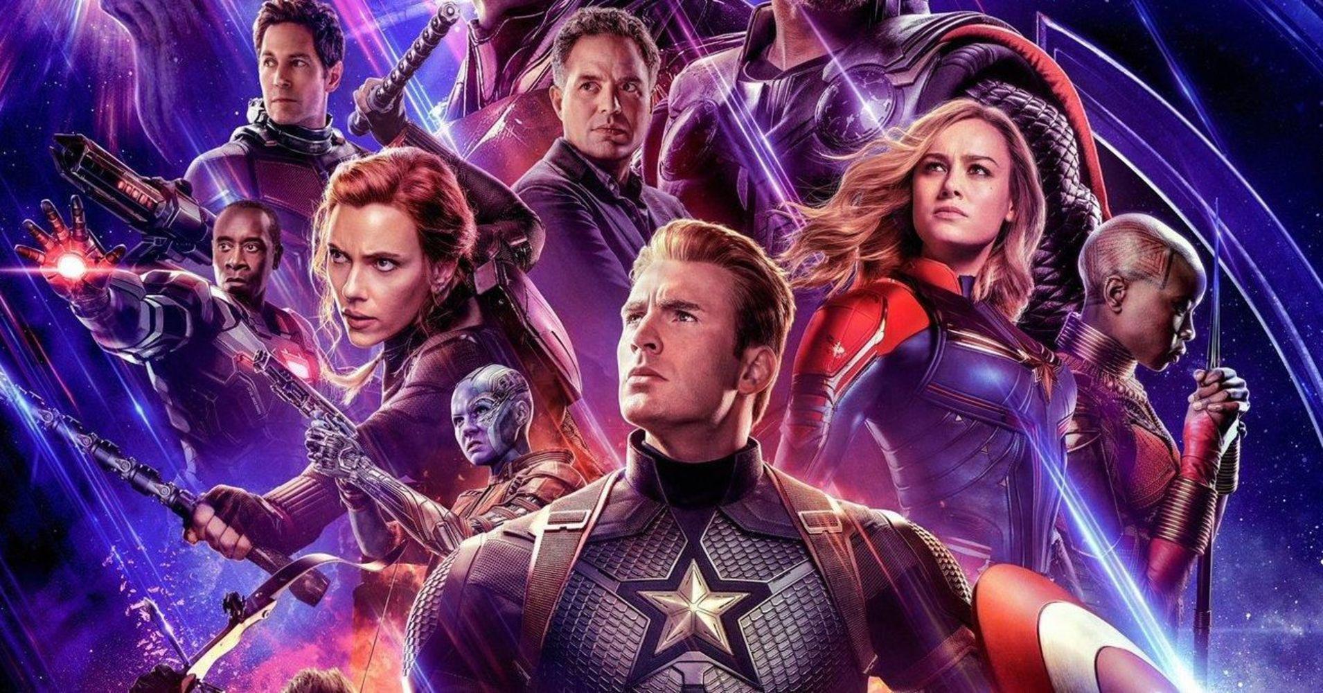 Cast of Marvels Avengers Endgame movie including Captain America.