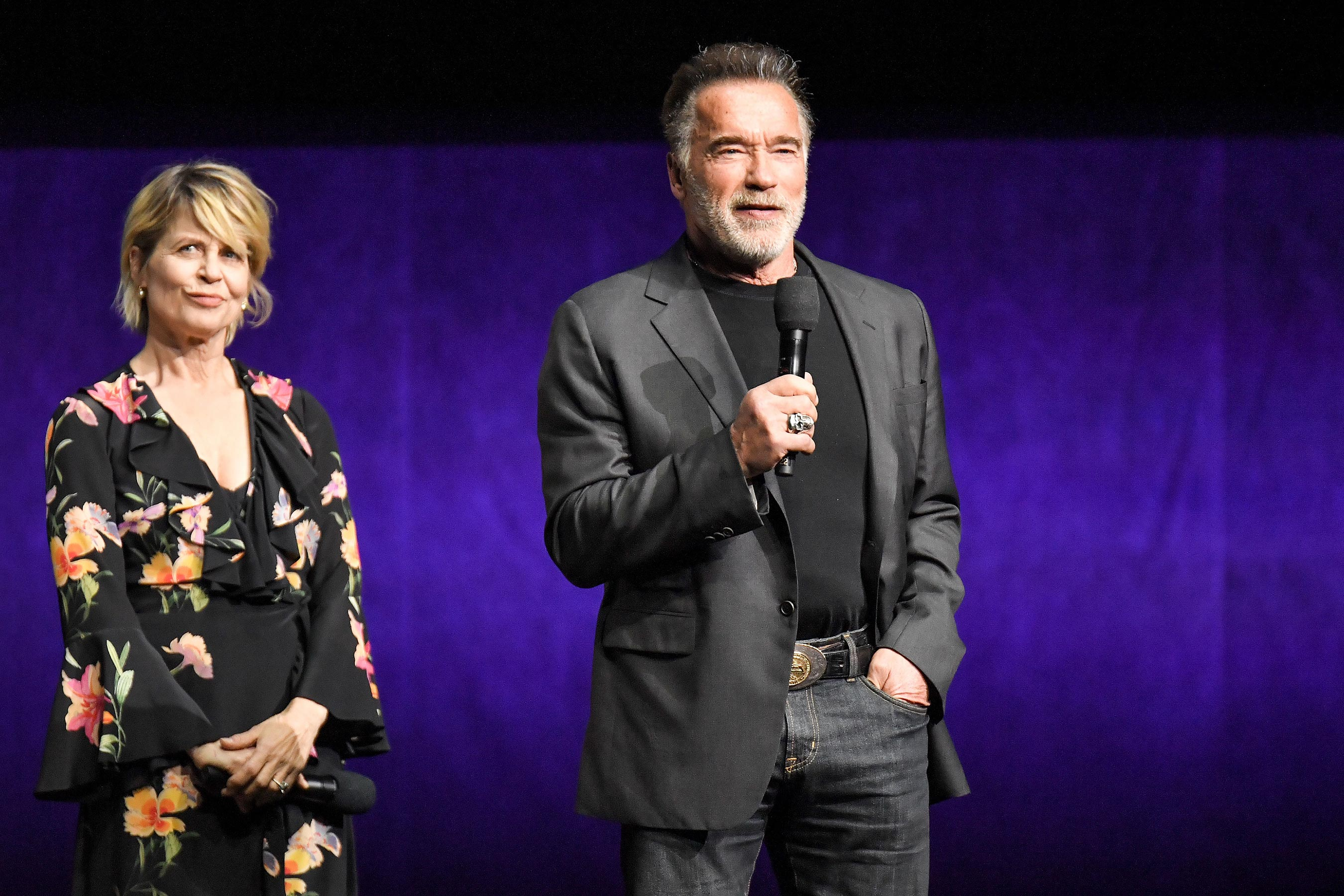 Linda Hamilton with Arnold Schwarzenegger at CinemaCon 2019.