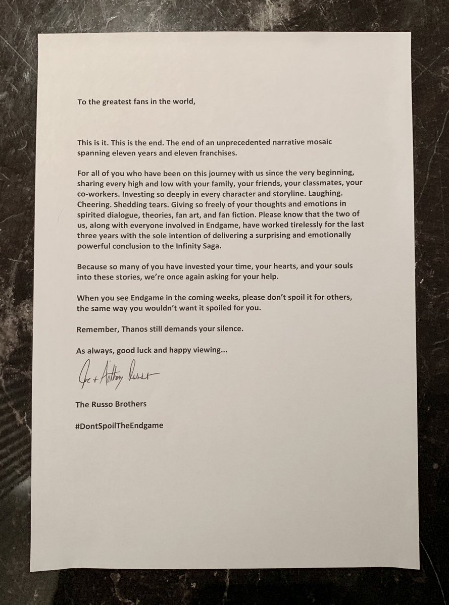 Russo brothers letter to fan about Avengers Endgame killing off Captain America.