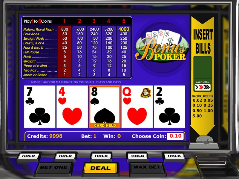Video poker screen images.