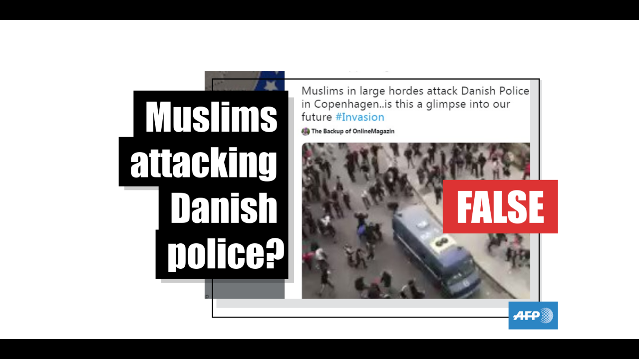 Muslims attacking Danish police in Copenhagen fake news 2019