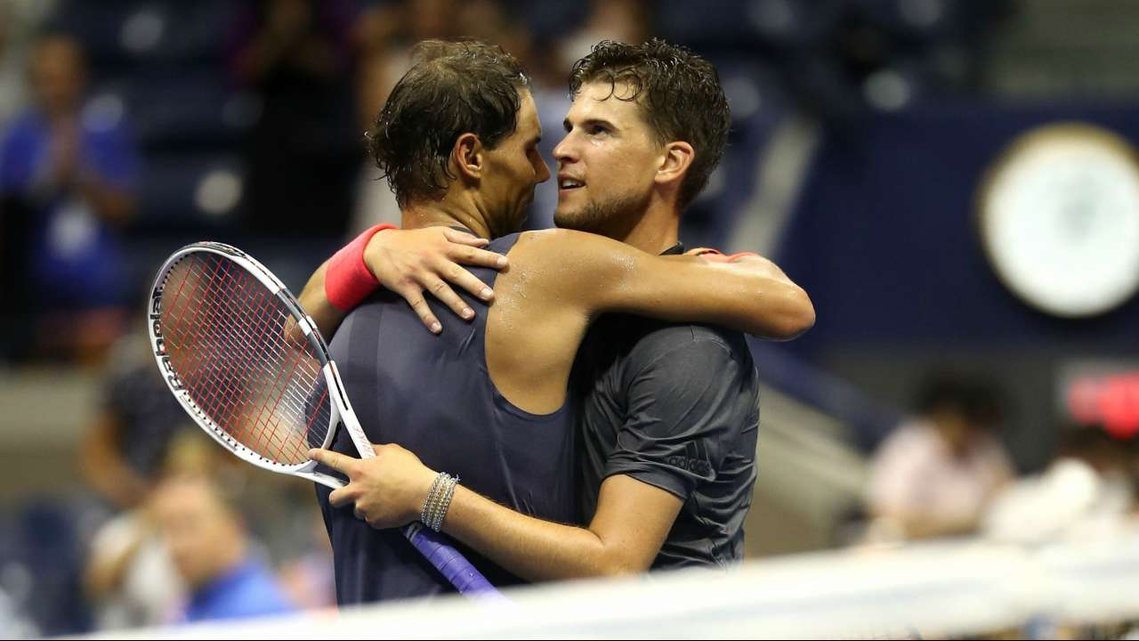 dominic thiem giving bulge support to rafael nadal at madrid open 2019