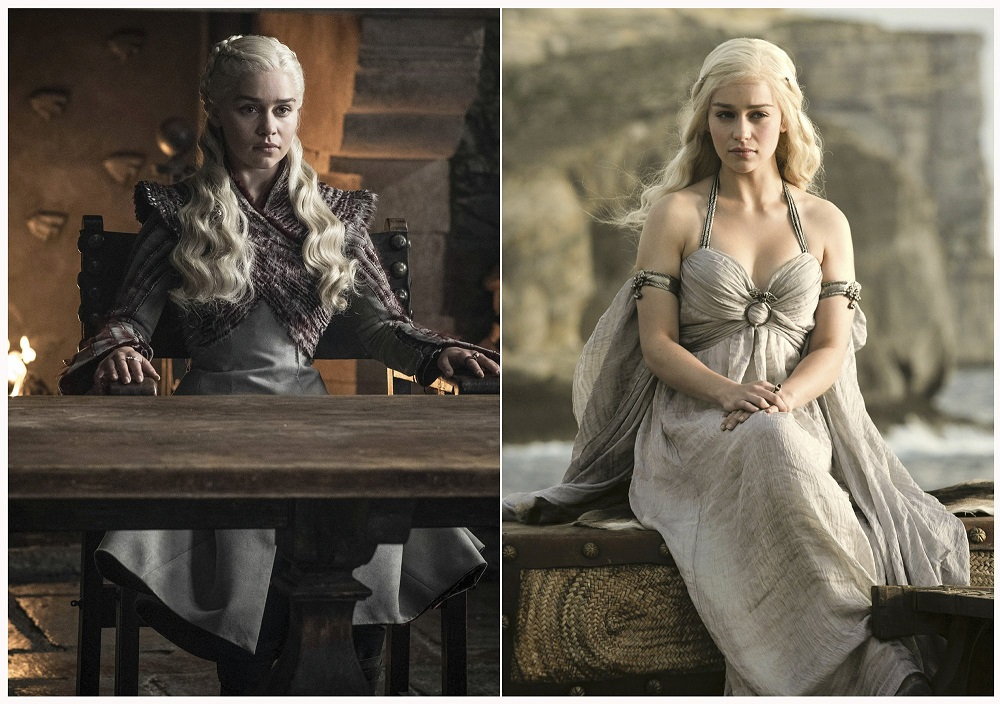 emilia clarke as daenerys targaryen in game of thrones before and after 2019