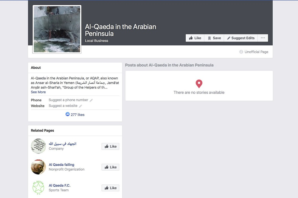facebook auto generated pages for al qaeda in arabian peninsula