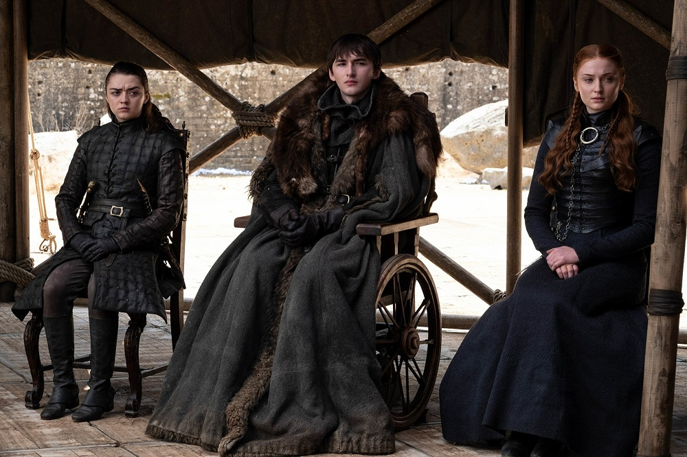 game of thrones finale maisie williams with isaac wright sophie turner hbo