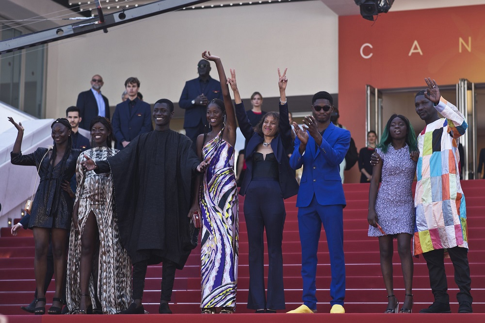 mati diop with cast of atlantique at cannes film festivla