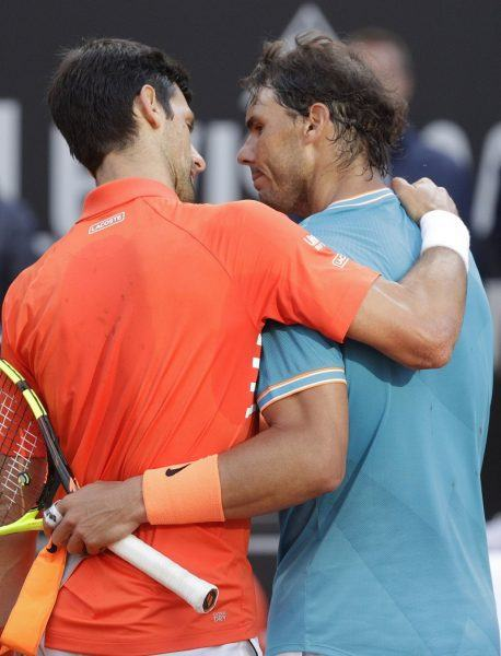novak djokovic hugging rafael nadal win at italian open 2019 images