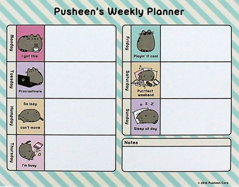 Pusheen Weekly Planner hot mothers day gift ideas 2019.
