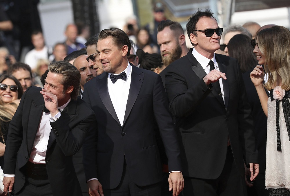 quentin tarantino with leonardo dicaprio brad pitt at cannes once upon a time