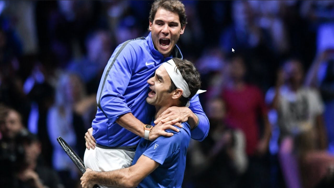 rafael nadal in roger federers warm embrace french open 2019