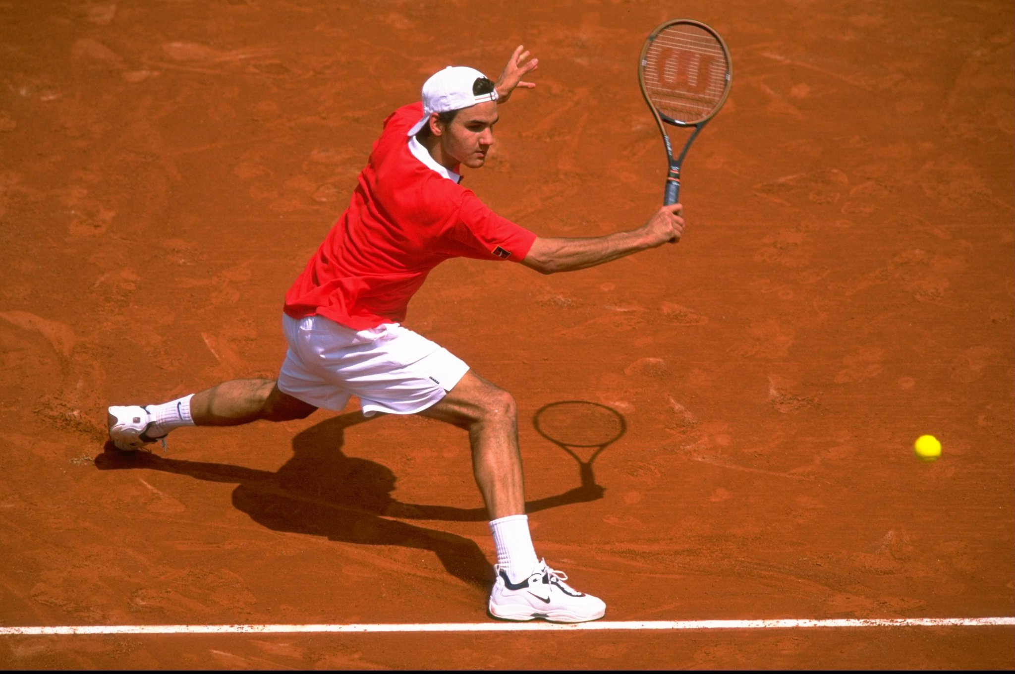 roger federer first french open at 17 with backward ball cap
