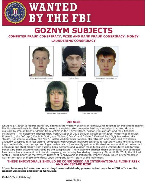 Goznym cyber crime ring wanted by FBI poster.