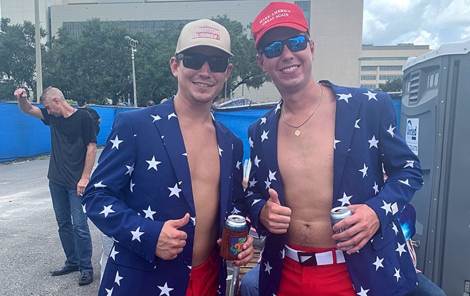 donald trump shirtless men supporters 2020 election