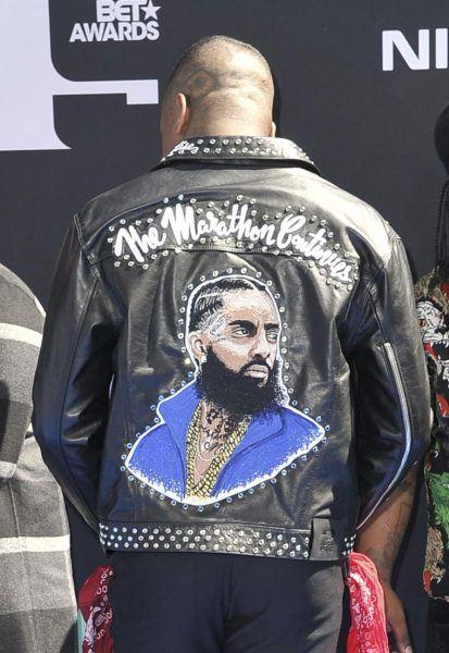 nipsey hussle leather jacket homage bet awards