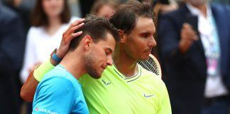 rafael nadal kept dominic thiem at bay rubbing head french open 2019 images