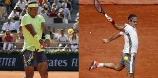 rafael nadal roger federer jumping hitting french open balls