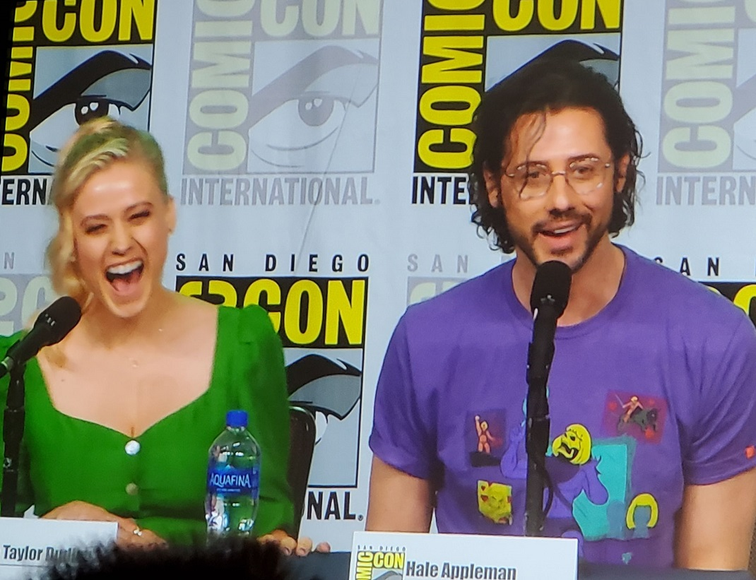 Magicians Hale Appleman Olivia Dudley laughing at comic con panel 2019