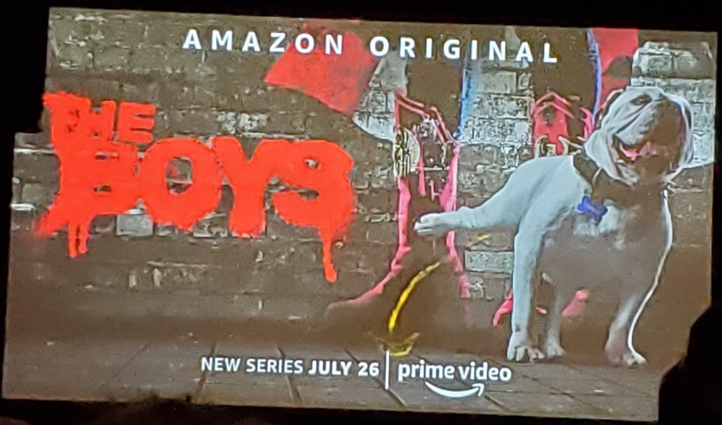 amazon the boys poster bull dog peeing on building