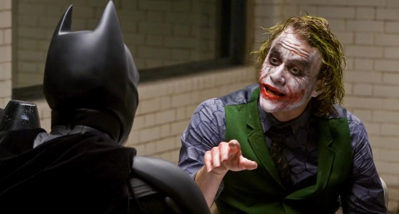 heath ledger joker stealing scenes in the dark knight movie