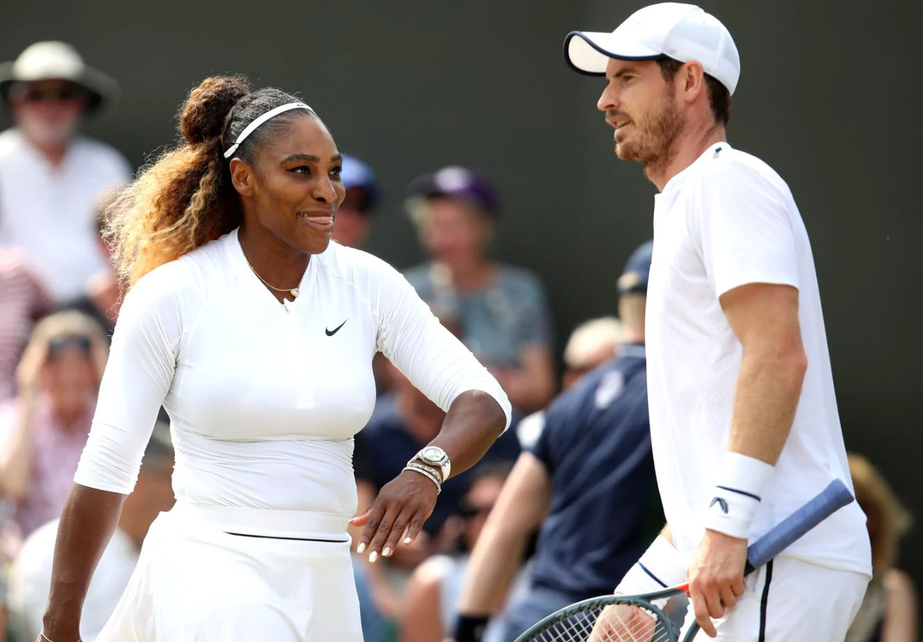 serena williams winning with andy murray at wimbledon 2019