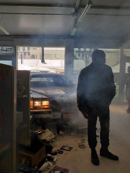 smoking overheated car in shop for comic con boys activiation 2019
