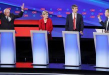 democratic debate 2 bernie sanders raising hands 2019 images