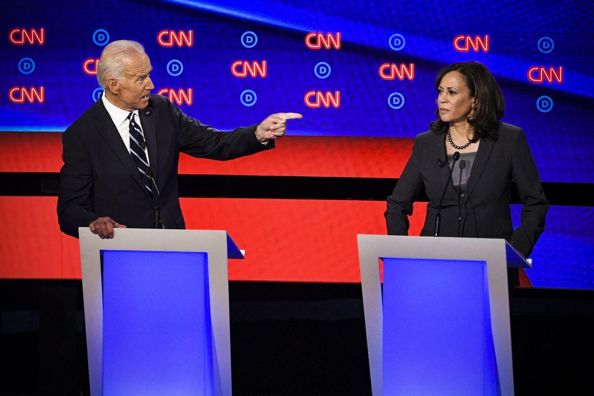 joe biden pointing at kamala harris democratic debate 2